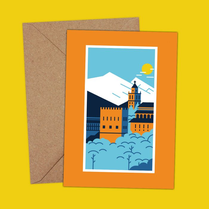 Alhambra Granada illustration postcard
