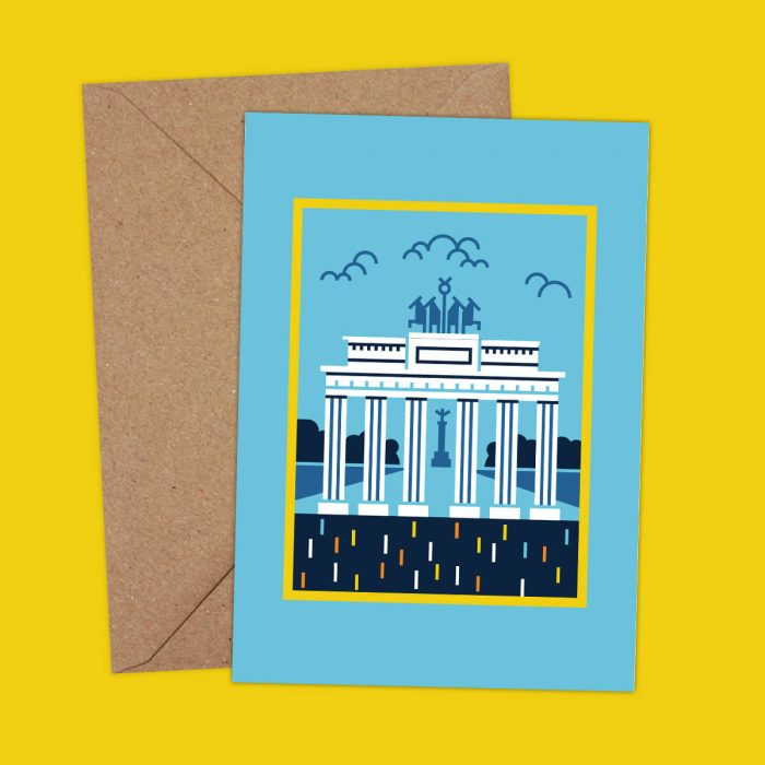 Brandenburg gate illustration postcard
