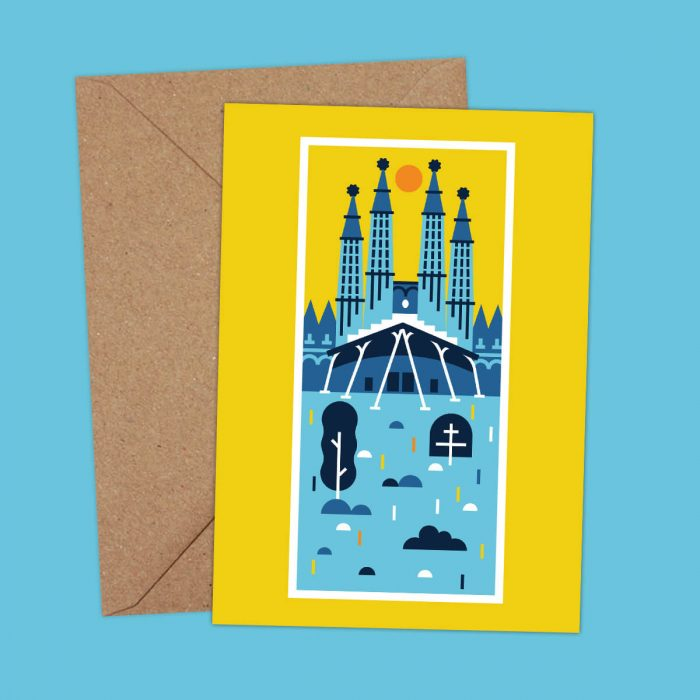 Sagrada familia Barcelona illustration postcard
