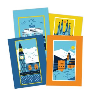 City Postcard set illustration fine art