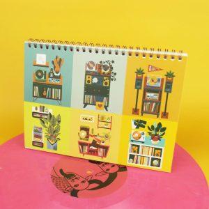 Illustrated Calendar Turntables Plants Fine Art Salmorejo studio