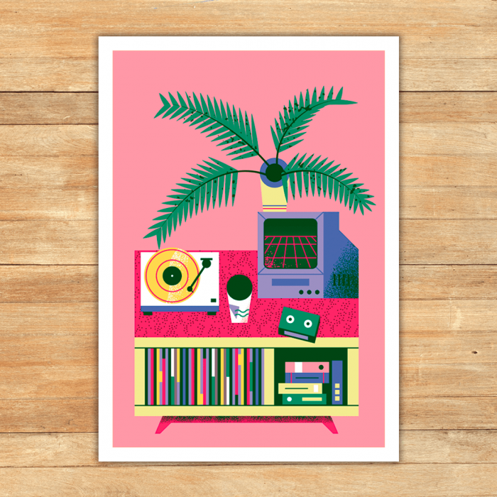 turntable_plants_print_vaporwave